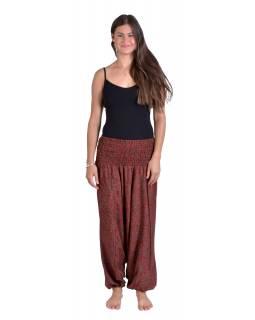 Turecké volné kalhoty/overal/halenka 3 v 1, červeno-hnědé s paisley potiskem