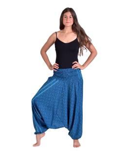 Turecké volné kalhoty/overal/halenka 3 v 1, modré s drobným potiskem květin