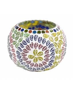 Lampička, skleněná mozaika, barevná, kulatá, průměr 11cm, výška 9cm