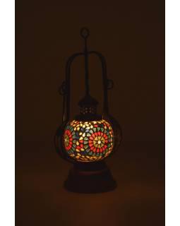 Mozaiková lucerna na svíčku, multibarevná, sklo, ruční práce, 13x13x40cm