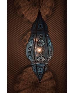 Kovová lampa v orientálním stylu, bílá barva, uvnitř modrá, 34x52cm