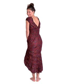 Dlouhé šaty, balónový rukávek, černo-červené s drobným paisley potiskem
