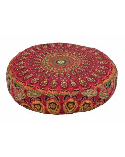 Meditační polštář, kulatý, 63x13cm, červeno-žlutý, paví mandala