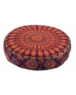 Meditační polštář, kulatý, 63x13cm, oranžovo-vínový, paví mandala