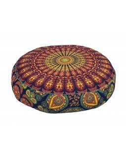 Meditační polštář, kulatý, 63x13cm, růžovo-fialový, paví mandala