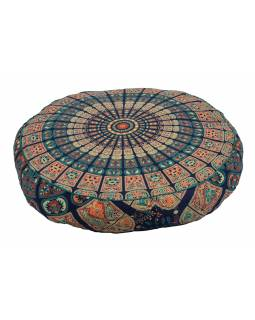 Meditační polštář, kulatý, 63x13cm, modro-červený, mandala