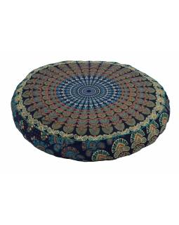 Meditační polštář, kulatý, 63x13cm, modro-zelený, paví mandala