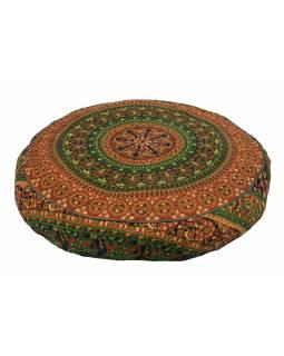 Meditační polštář, kulatý, 63x13cm, zeleno-oranžový, mandala