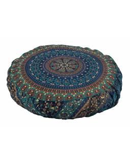 Meditační polštář, kulatý, 63x13cm, modro-zelený, mandala