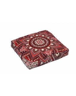 Meditační polštář, čtverec, 60x13cm, vínovo-červená Mandala