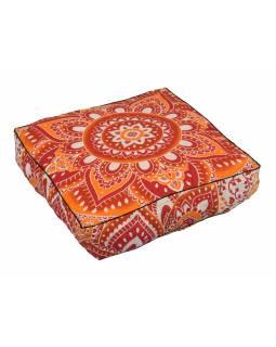 Meditační polštář, čtverec, 60x13cm, červeno-oranžová Mandala
