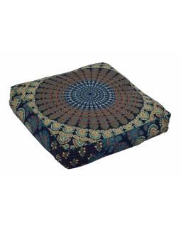 Meditační polštář, čtverec, 60x13cm, modro-zelený, paví Mandala