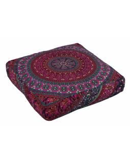 Meditační polštář, čtverec, 60x13cm, růžovo-fialový, paví Mandala