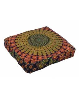 Meditační polštář, čtverec, 60x13cm, modro-oranžový, paví Mandala