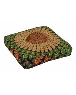 Meditační polštář, čtverec, 60x13cm, oranžovo-zelený, paví Mandala