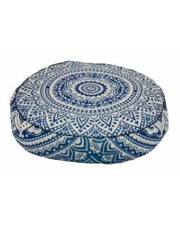 Meditační polštář, kulatý, 57x13cm, modro-bílá mandala