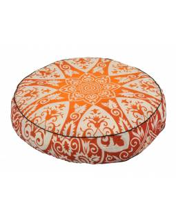 Meditační polštář, kulatý, 57x13cm, červeno-bílá mandala