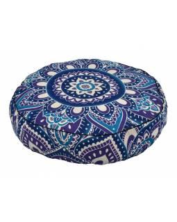 Meditační polštář, kulatý, 57x13cm, modro-fialová mandala