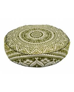Meditační polštář, kulatý, 57x13cm, zeleno-bílá mandala