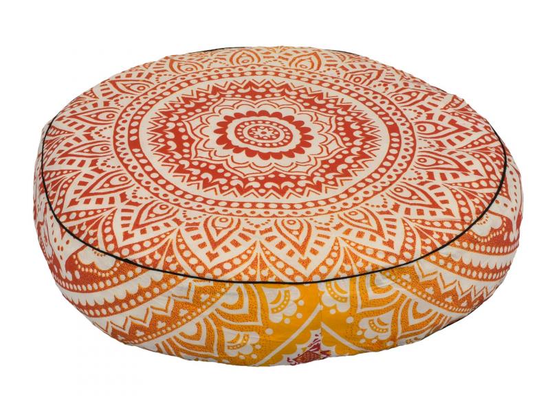 Meditační polštář, kulatý, 57x13cm, červeno-žlutá mandala
