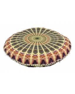Meditační polštář, kulatý, 80x13cm, béžový, paví mandala, bílé bambulky