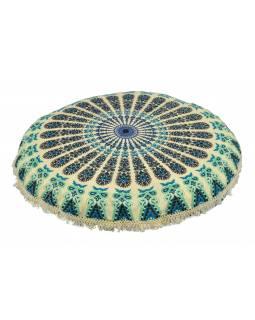 Meditační polštář, kulatý, 80x13cm, béžový, tyrkysová paví mandala, třásně
