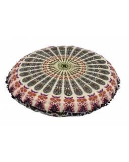 Meditační polštář, kulatý, 80x13cm, bílý, paví mandala, černé třásně