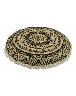 Meditační polštář, kulatý, 80x13cm, béžový, černá mandala, béžové třásně