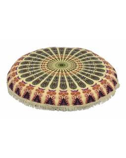 Meditační polštář, kulatý, 80x13cm, béžový, fialová paví mandala, béžové třásně
