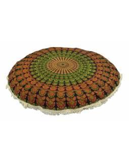 Meditační polštář, kulatý, 80x13cm, zeleno-oranžový, paví mandala, béžové třásně