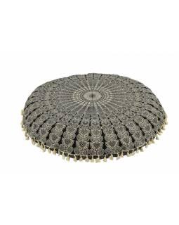 Meditační polštář, kulatý, 80x13cm, černo-bílý, paví mandala, béžové třásně