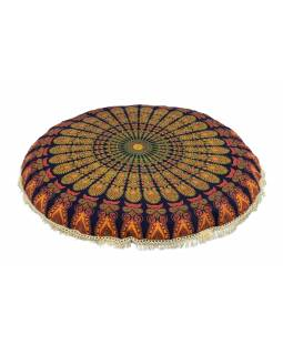 Meditační polštář, kulatý, 80x13cm, modrý, paví mandala, béžové třásně