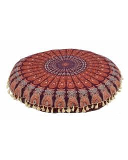 Meditační polštář, kulatý, 80x13cm, vínovo-oranžový, paví mandala, béžové třásně