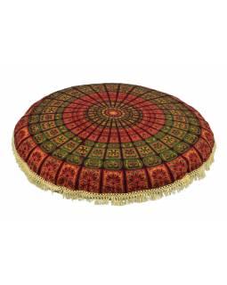 Meditační polštář, kulatý, 80x13cm, vínovo-zelený, paví mandala, béžové třásně