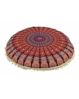 Meditační polštář, kulatý, 80x13cm, oranžovo-vínový, paví mandala, béžové třásně