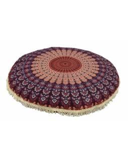 Meditační polštář, kulatý, 80x13cm, vínovo-modrý, paví mandala, béžové třásně