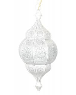 Lampa v orientálním stylu s jemným vzorem, bílá, uvnitř bílá, 25x25x50cm