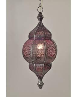Lampa v orientálním stylu s jemným vzorem, stříbrná, uvnitř fialová, 25x25x50cm
