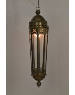 Prosklená lampa v orientálním stylu, zlatá patina, 20x75cm