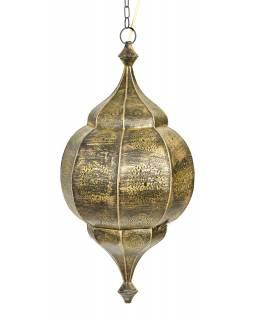 Orientální lampa s jemným vzorem, černo zlatá, uvnitř žlutá, 30x30x65cm
