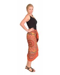 Sárong červeno-oranžový s velkou Mandalou, 110x180cm, s ručním tiskem