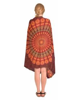 Sárong vínovo-oranžový s paví Mandalou, 110x180cm, s ručním tiskem