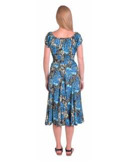 Dlouhé šaty s balonovým rukávkem, černé s modro-bílým potiskem květin