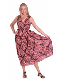 Dlouhé šaty bez rukávu, černé se starorůžovým potiskem květin