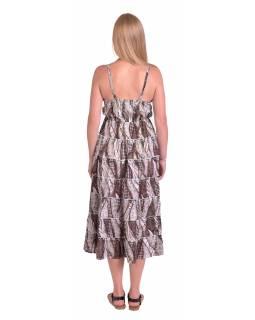Dlouhé šaty na ramínka, béžové s hnědým potiskem
