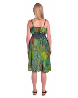 Dlouhé šaty na ramínka, patchwork, zelené