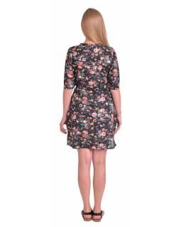Krátké zavinovací šaty s krátkým rukávem, černé s potiskem květin