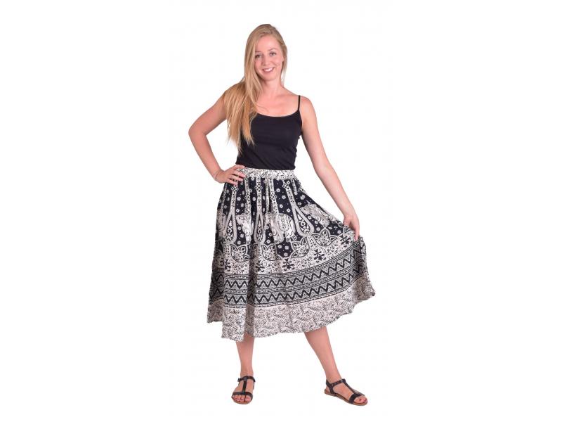 Dlouhá sukně, černo-bílá, potisk slonů a orientálních vzorů