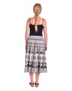 Dlouhá sukně, černo-bílá, potisk slonů, květin a orientálních vzorů