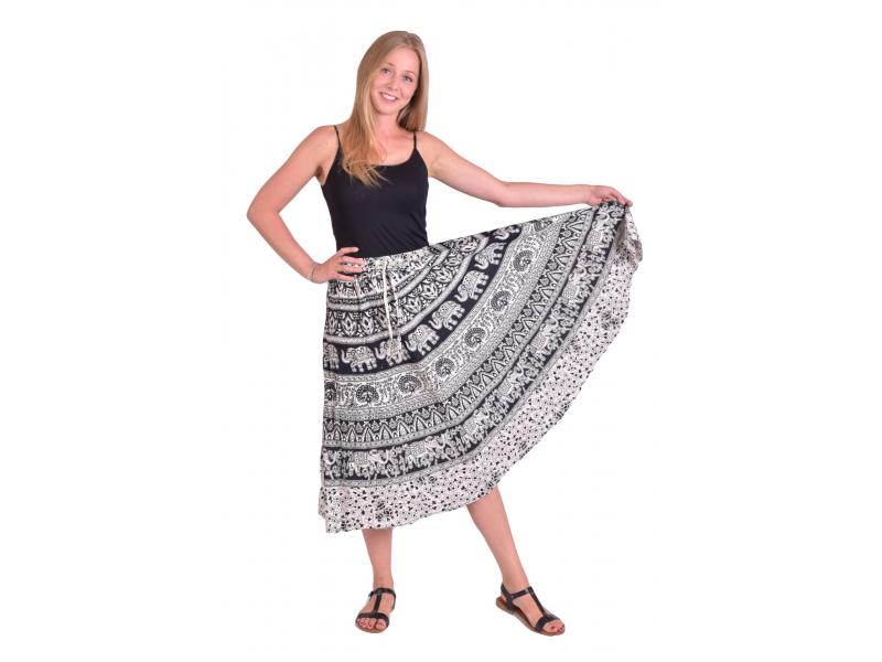 Dlouhá sukně, černo-bílá, potisk slonů, pávů a orientálních vzorů